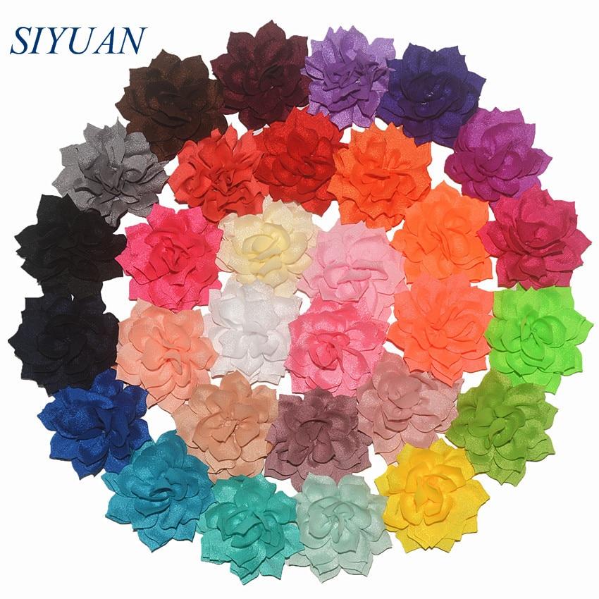 120pcs lot 13 Color U Pick 3 2 Inch Boutique Winter Chiffon Lotus Flower Wedding Hair