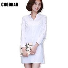cae5e8ab71ed8 الأبيض قميص ثوب المرأة الربيع الخريف اللباس الرسمي 2018 موضة جديدة الكورية  السيدات مكتب موقف طوق كوريا طويل الأكمام فساتين