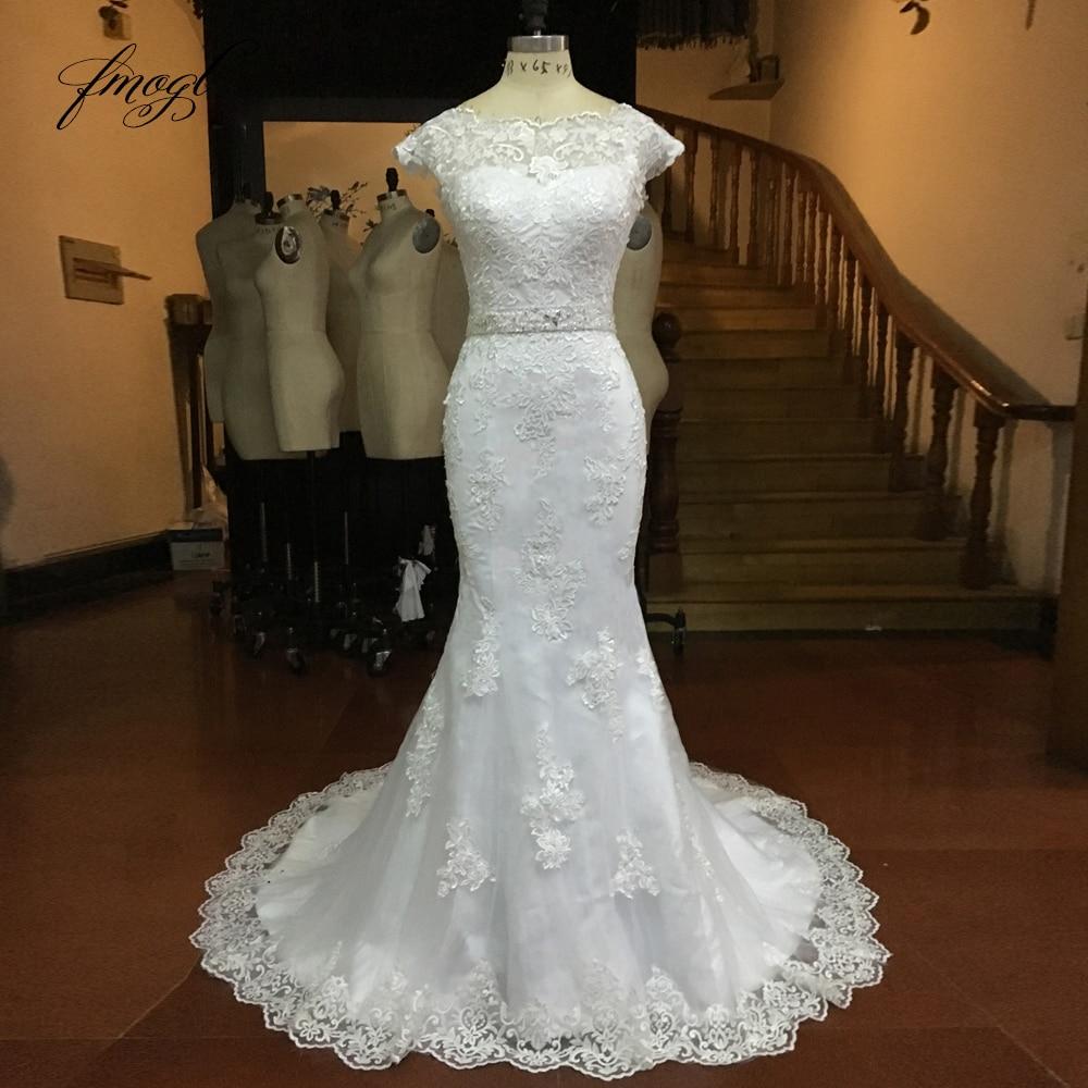 Vintage Wedding Dresses With Cap Sleeves: Fmogl Vestido De Noiva Lace Mermaid Wedding Dresses 2019