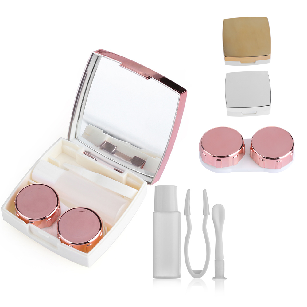 1PC Fashion Plastic Contact Lens Mirror Case Lenses Storage Box Travel Size Portable Multi-purpose Eye Lashes Container