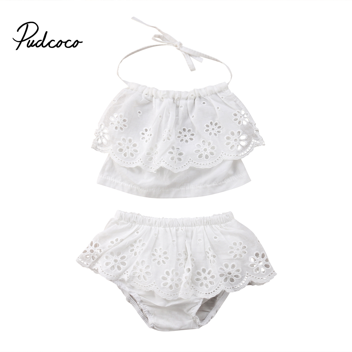 2018 Toddler Kids Girls Clothes Lace Halter Tops+Shorts Bottoms Summer Newborn Baby White Clothing Outfit Set 2pcs