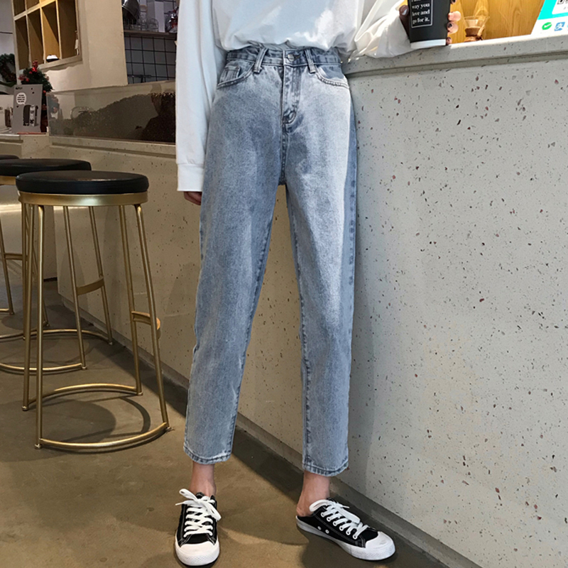 Jeans Women Solid Trendy Loose Elegant All-match High-quality Korean Style Leisure Daily Womens Ladies Lovely Girls Simple 2019