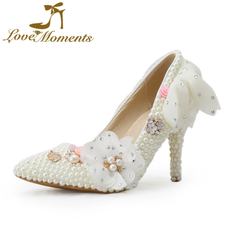 Love Moments wedding ceremony shoe lady ivory pearl attractive pointed toe bridal get together footwear costume footwear candy flowers Plus Dimension 10 bridal footwear, wedding ceremony footwear, wedding ceremony...