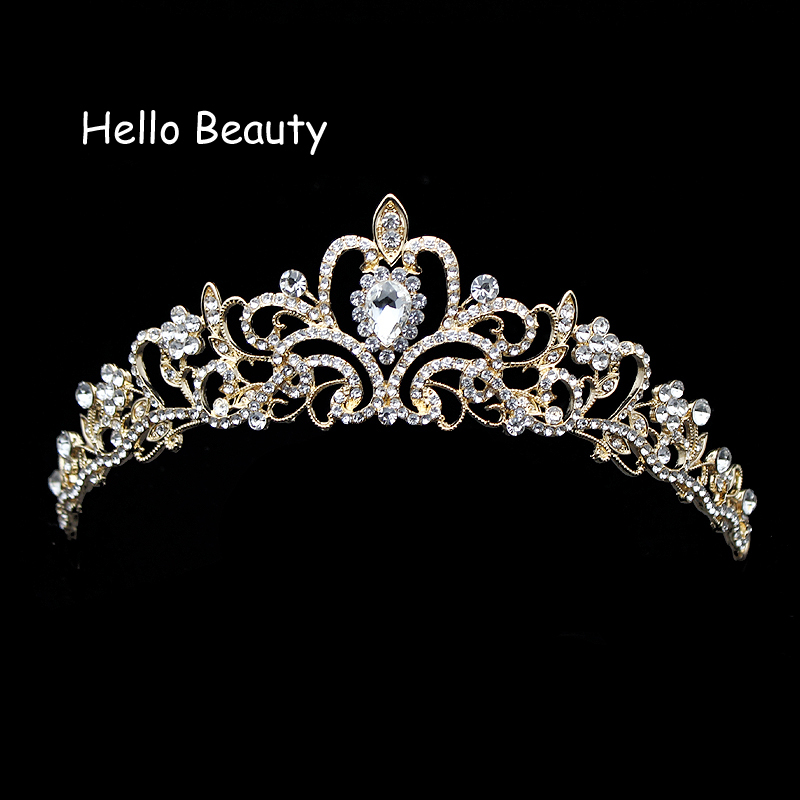 Gold Color Fashion Clear Crystal Bridal Hair Accessories Pageant Princess Tiaras Rhinestone Prom Wedding Crown For Bride