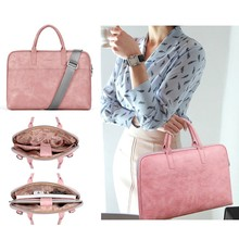 Fashion PU waterproof Scratch-resistant Laptop Shoulder Bag 13 14 15 15.6 17.3 inch Notebook Carry Case for MacBook Air