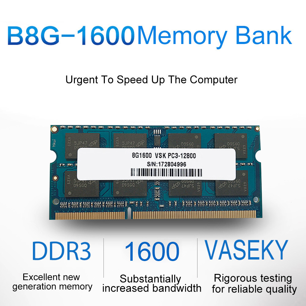 Vaseky 8G DDR3 Memory Capacity 1600HMz Frequency Full Compatibility Laptop Memory Bank For High Running & Transmission Speed server memory for z400 z600 z8004g 2rx8 ddr3 1600 ecc one year warranty