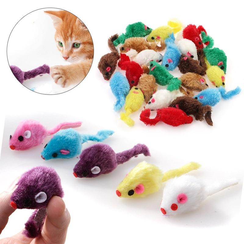 Mayitr 24PCS Pet Cat Mice Shape Toy Furry Kitten Funny