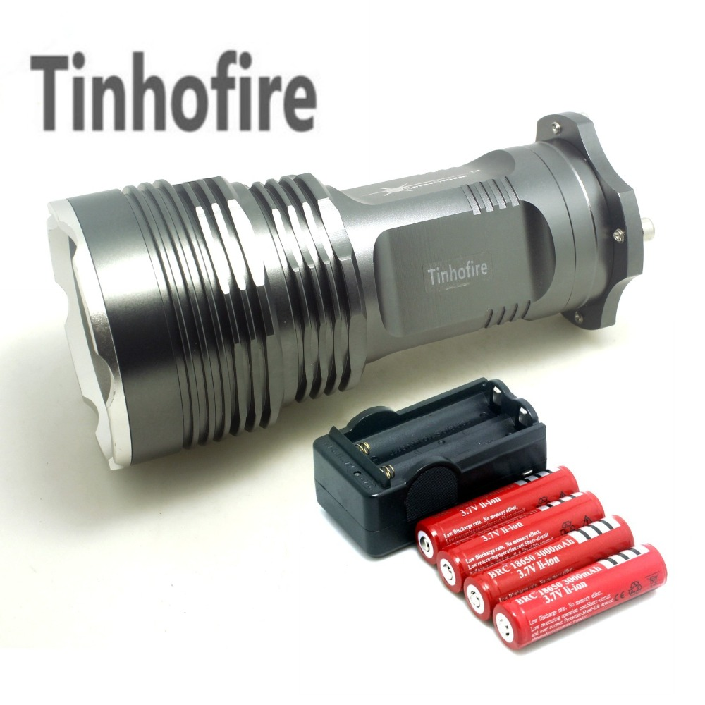 Tinhofire 35W 6000 Lumens CREE XML XM-L 5x T6 LED Flashlight Torch USE 4x 18650 Lamp light+4*18650 battery+travel charger rechargeable 2000lm tactical cree xm l t6 led flashlight 5 modes 2 18650 battery dc car charger power adapter
