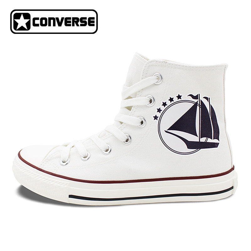 White Converse All Star for Men Women Shoes Design Sailing Helm Anchor Travel Adventures High Top Canvas Sneakers