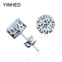 Shinny 6 6mm Hearts And Arrows CZ Diamond Earrings Real 925 Sterling Silver Jewelry Zircon Stud