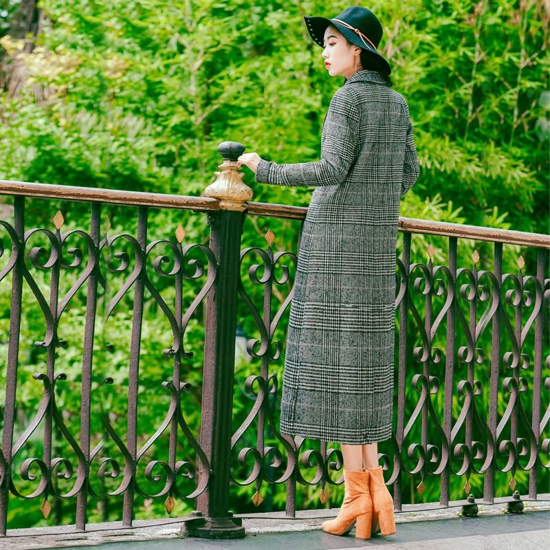 Manteau down taille Costume Large Printemps Outwear 2019 Laine Gris Femelle Femmes Pour Manteaux Plaid Turn Vêtements En Longues Collar x7IwqO8wHg
