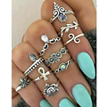 10pcs/set 2017 New Fashion Women's Punk Chic Opal Crystal Flowers Jade Antique Silver Plated Midi Rings Set Jewelry Accessories