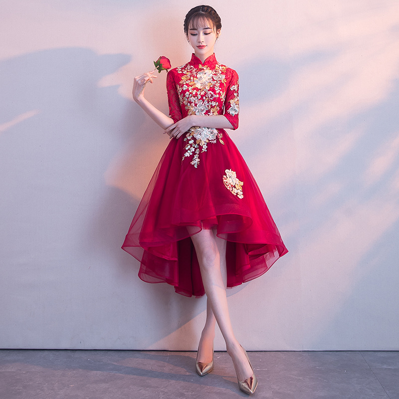 Elegant Half Sleeve Chinese Wedding Dress Retro Lace Appliques Bridal Gowns A Line Slim Ladies Party Dresses Toast Clothes