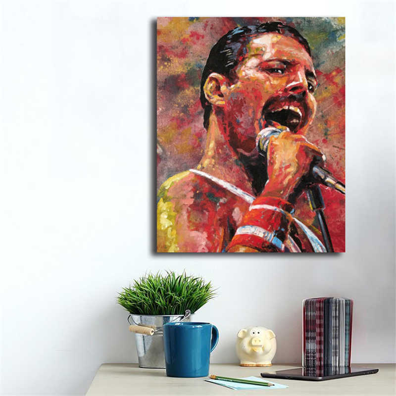 queen band freddie mercury hd wall art canvas poster and print canvas painting decorative picture modern