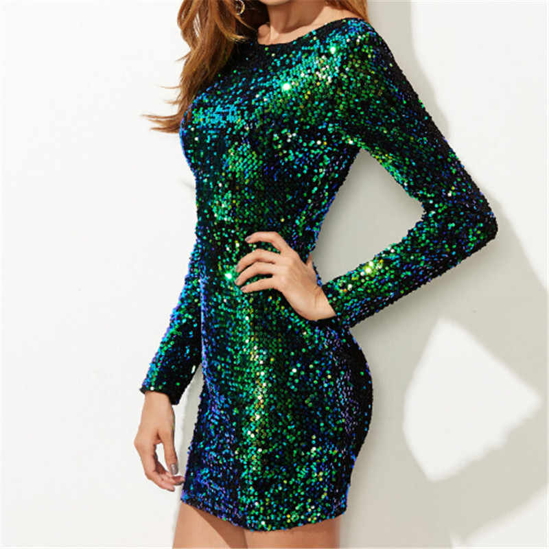 Women Dress Elegant Sexy Club Dresses Korean Style Brand Green Iridescent Long  Sleeve Sequin Dress 7b4c7c50a428