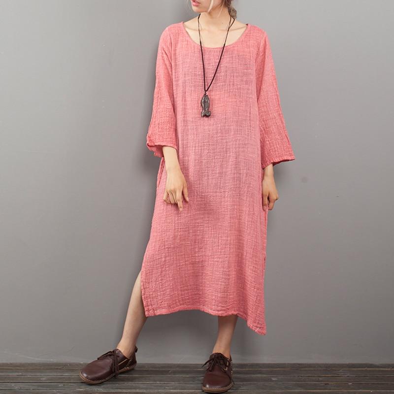ZANZEA 2018 Women Long Maxi Dress Casual Loose Split O Neck Vestido Long Sleeve Robe Femme Solid Beach Boho Party Dresses M-5XL