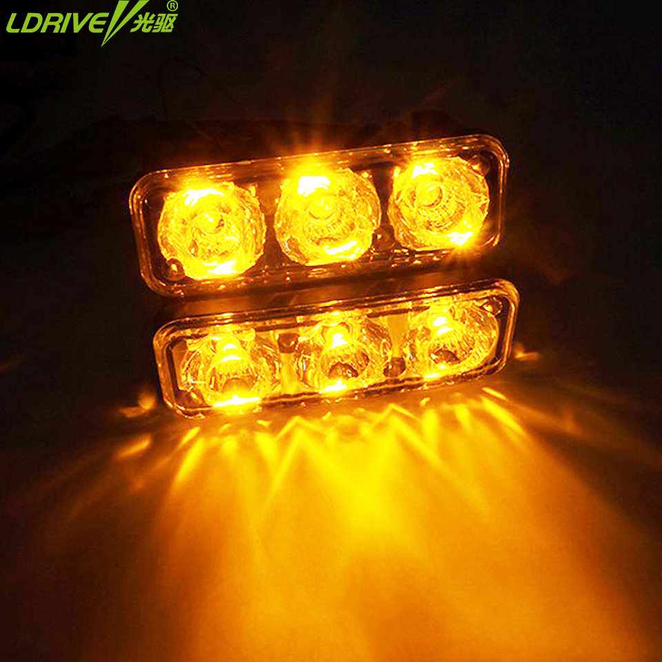 Waterproof car 3 led daytime running lights DRL with turn signal lamp auto fog light Universal for bmw toyota Dodge ford vw kia 2pcs waterproof white and yellow car headlight cob led daytime running lights drl fog lights with turn signal light in russia