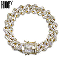 Hip Hop Bling Iced Out Full Crystal Pave Men's Bracelet Gold Silver Color Clasps Copper Miami Cuban Bracelets For Men Jewelry
