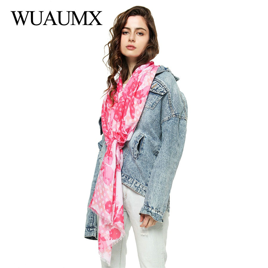 Wuaumx Casual Spring Scarf Women Hijab For Female Head Scarves Floral Cotton Long Shawls And Wraps 180*90cm sjaal apaszka