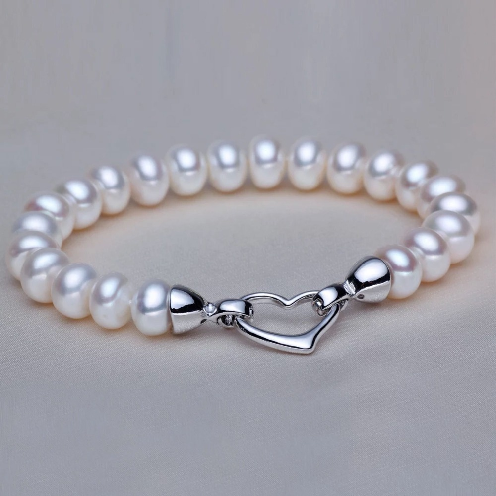 WATTENS Accessories charms 925 sterling silver bracelet,Genuine natural White pearls bracelets for women,Pearl jewelry Love gift