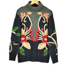 Женский плотный свитер с высоким воротником, вязаные пуловеры с цветочной вышивкой, Рождественский подиумный джемпер, одежда для зимы 2020