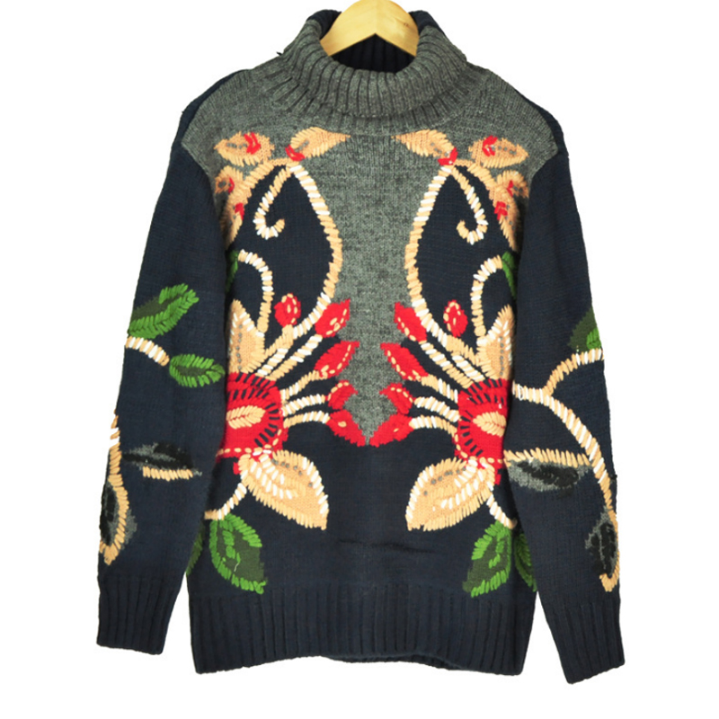 2019 Winter Women Thick Sweaters Turtleneck Neck Knitted Pullovers Christmas Female Runway Embroidery floral Jumper Clothing