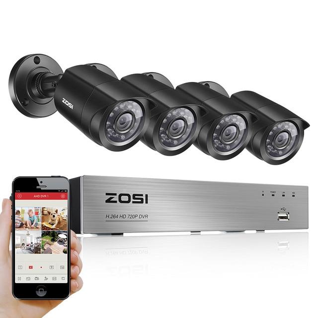ZOSI 8CH 720P TVI DVR Recording Smart Surveillance System kit 4PCS IP66 1280TVL Security Camera Kit(Full 720P,1080P HDMI Output)