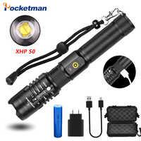 POCKETMAN 50000 lumens lampe de poche xhp50.2 lampe de poche la plus puissante 18650 usb torche xhp50 lanterne 18650 lampe de chasse lumière à la main