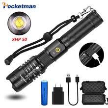 POCKETMAN ไฟฉายสว่าง xhp50.2 ส่วนใหญ่ที่มีประสิทธิภาพไฟฉาย 18650 ไฟฉาย USB XHP50 โคมไฟ 18650 การล่าสัตว์โคมไฟมือ