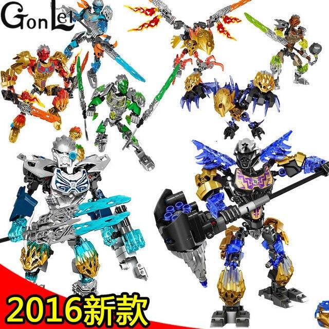 GonLeI marvel Super Héroes bioquímicos Guerrero BionicleMask de luz Bionicle Tahu Ikir ladrillos juguetes de bloques de construcción juguetes de los niños