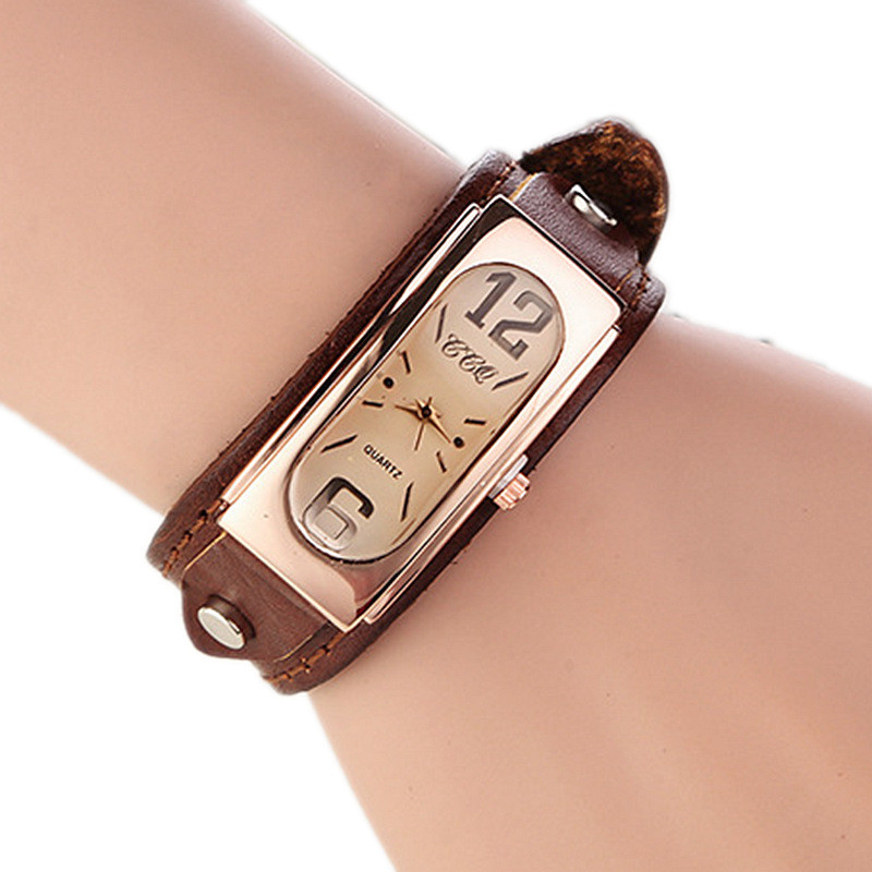 Women Fashion Vintage Quartz Watches Casual Bracelet Leather Watch Wristwatches For Ladies Analog Clock Relojes Mujer Feminino fashion vintage big number magic leather strap quartz analog wristwatches watch for women ladies girls black brown blue