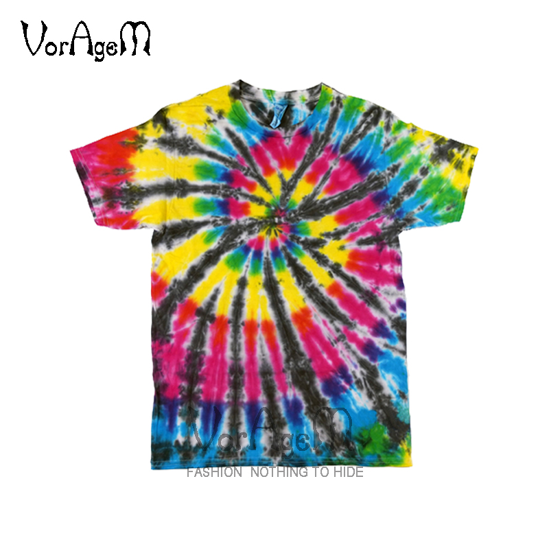 T-shirts Mens Summer Handmade Tie Dye T Shirt Fashion Spiral Star Ray Colorful Tops Hipster Skateboard Streetwear Male 100% Cotton Tees
