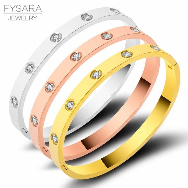 13a9f803c6e FYSARA Classic Brand Gold Color Lover Bangles for Women Titanium Steel Couple  Jewelry Full CZ White