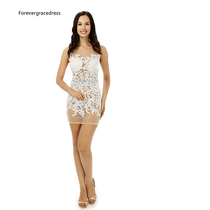Forevergracedress 2018 Hot Straight   Cocktail     Dress   Sexy Applique Sleeveless Short Mini Evening Party Gown Plus Size Custom Made