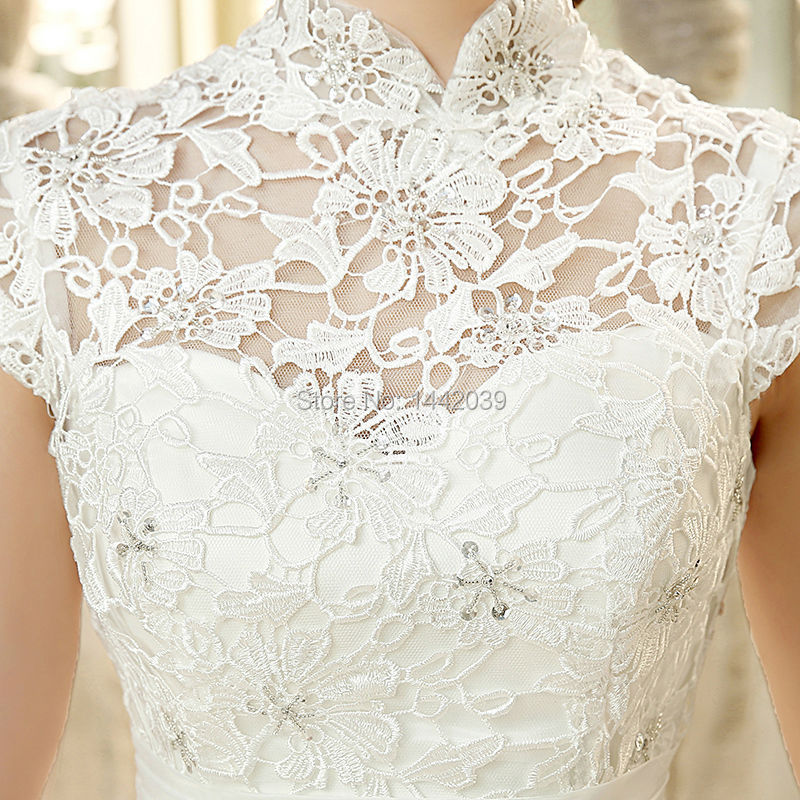 f89086123845c Cheap Ball Gown Tulle Wedding Dress from China Audrey Hepburn Style High  Neck Cap Sleeves Venice Lace Bodice Big Puffy Skirt-in Wedding Dresses from  ...