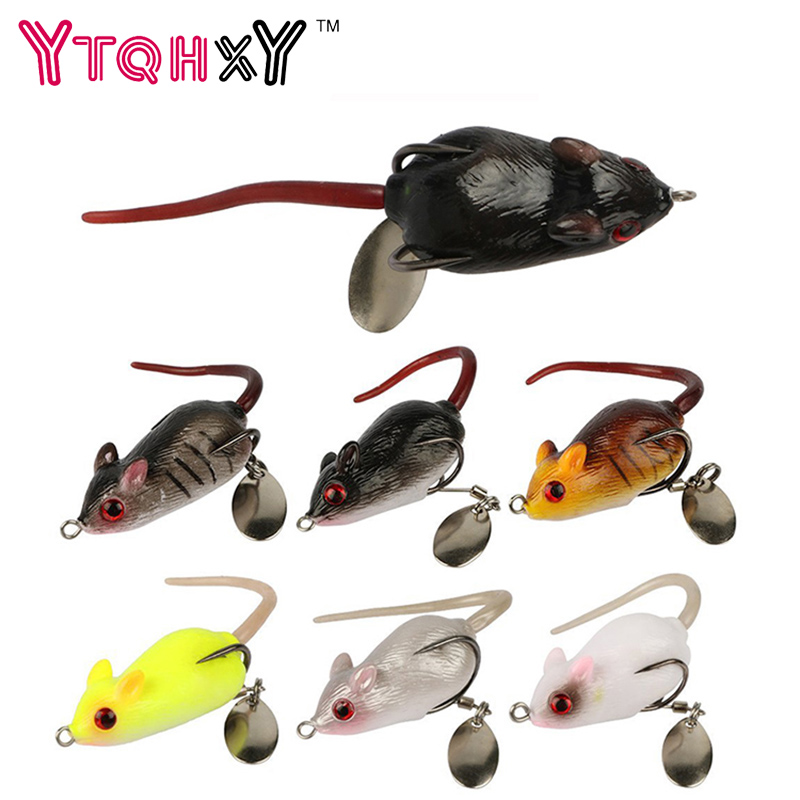 YTQHXY 3D Eyes Soft Mouse Bait Bells Sound 50mm 10.5g Fishing lure Wobblers Frog Silicon Artificial Sea Swim Bait YE-374 artificial frog fishing lure bait yellow green black 5pcs