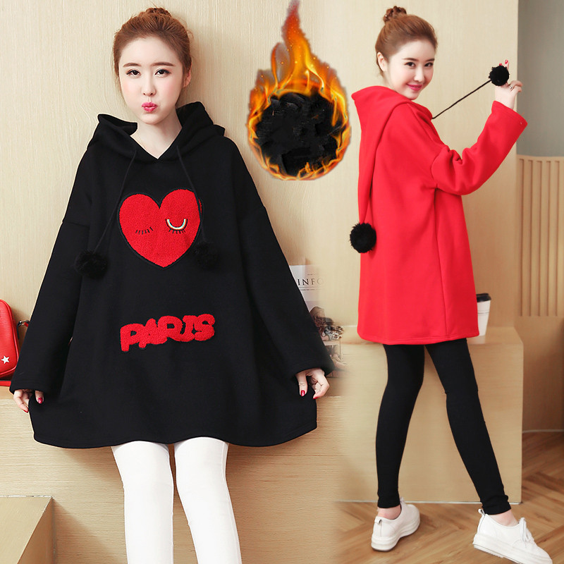 Autumn Winter Thick Maternity Hoodies for Pregnancy Women Clothes Loose Sweatshirts Coat Winter Pouch Pullover Sweatshirt C132