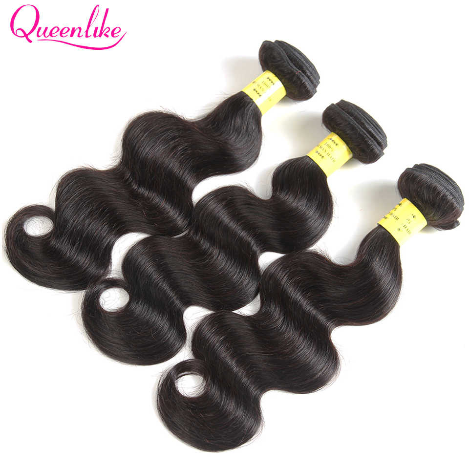 QueenLike Hair Products 100% Human Hair Bundles 8-28 Inches Non Remy Color 1b Hair Weave Bundles Brazilian Body Wave