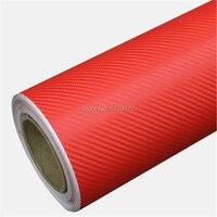 Оптовая продажа 30 м красный 3D углеродного волокна виниловой пленки с выпуска воздуха автомобиля Обёрточная бумага ping бампер/крыша Обёрточн