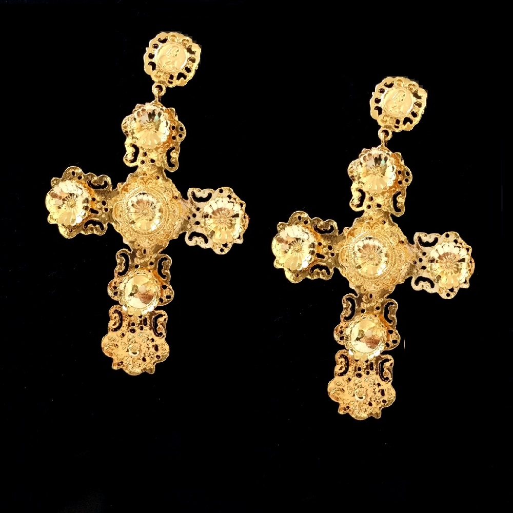 Large Gold Cross Earrings Gold Zara Baroque Rhinestone ...