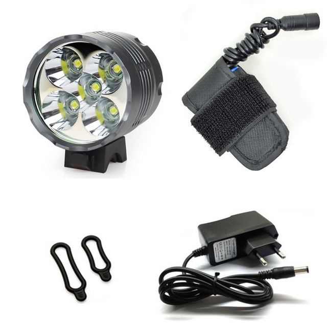 WasaFire <font><b>7000</b></font> <font><b>Lumens</b></font> LED Bike <font><b>Light</b></font> Lamp 5*T6 LED Headlamp Lantern <font><b>Bicycle</b></font> <font><b>Light</b></font> Headlight + 8400mAh Battery Pack last 3 hours image