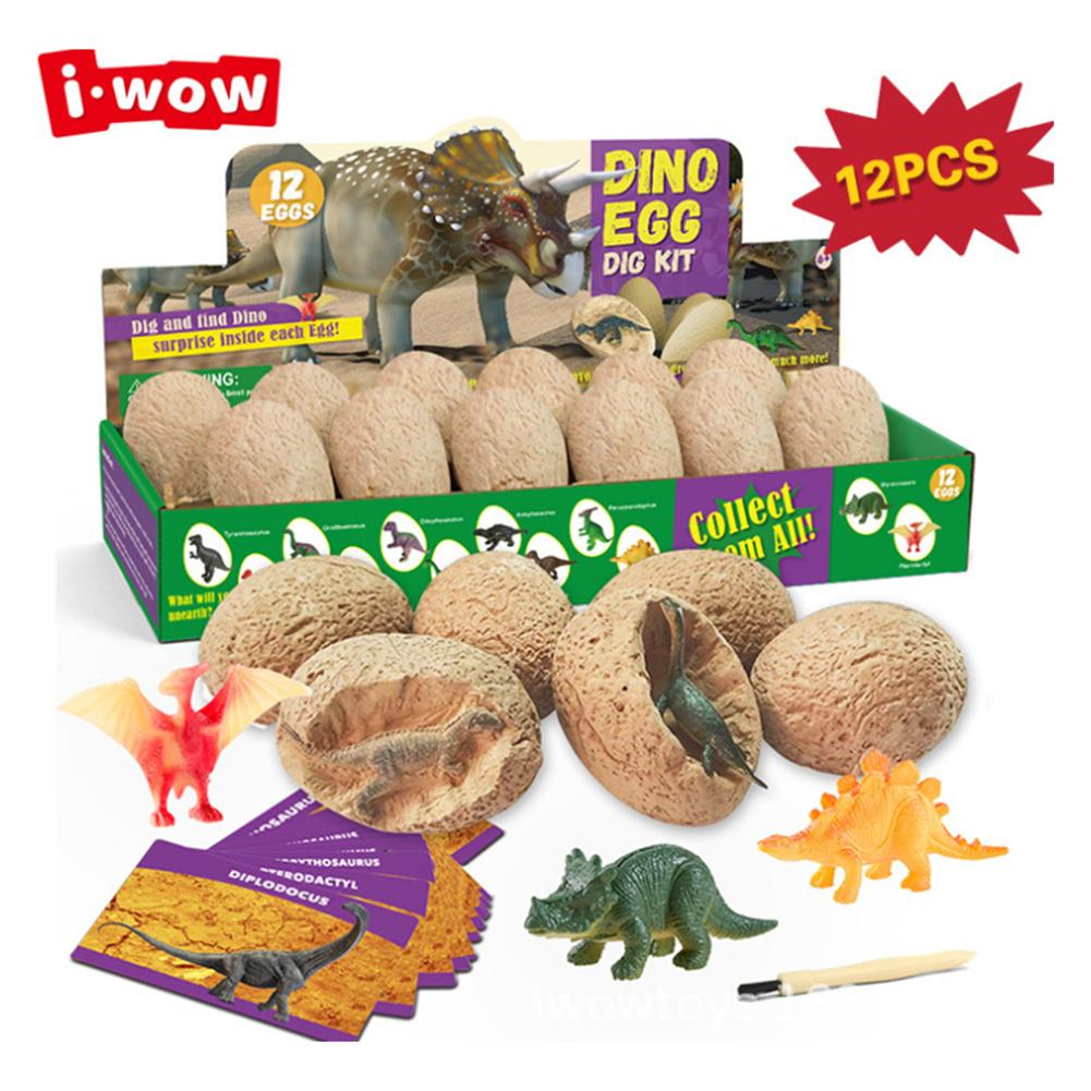 12PCS DIY Dinosaur Egg Toys Novelty Digging Fossils Excavation Toys Kids Learning Educational Party Funny Gifts Toy For Girl Boy