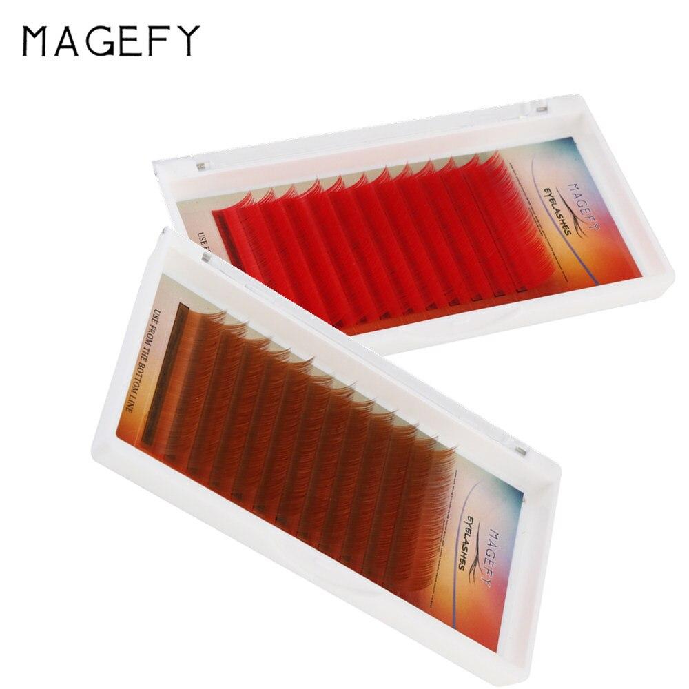 Magefy C Curl 0.07 13 мм норки накладные ресницы красно-коричневый ресниц Индивидуальный Цветной ресницы искусственная объем реснички ресниц