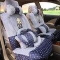 1 conjuntos 5 Assento novo inverno quente assento do carro do inverno capa de pelúcia curto almofada de lã para as mulheres em todo o assento cobrir