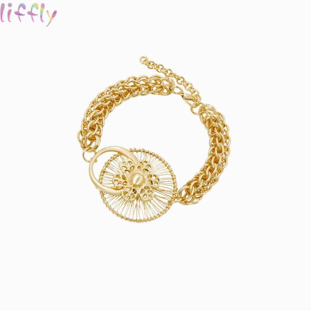 Heiße Afrikanische Schmuck Sets für Frauen Hochzeit Vintage Dubai Gold Schmuck Sets Halskette Ring Mode Ohrring Schmuck