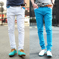 Four seasons all-match ! 6 candy color buttons side zipper skinny casual pants slim trousers male d404s55