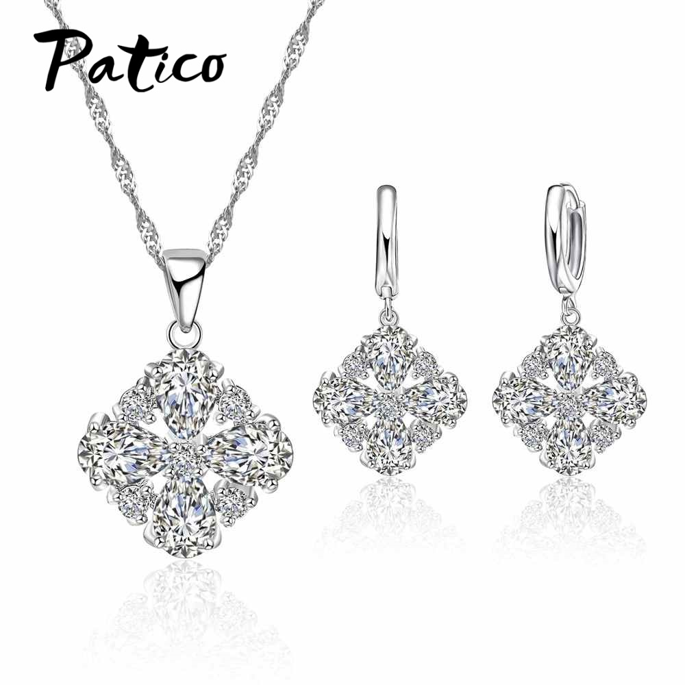 PATICO NEW Fashion Wedding Jewelry Set Necklace Full Shining Crystal Choker S90 Silver Necklace For Women 2019 Hot