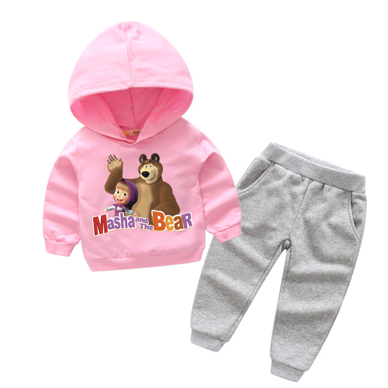 2018 Children 3D Masha And Bear Print Tracksuits Boy Girls Hooded Coat Suits For Kids Long Sleeve Clothes Sport Baby Sets TZ018 hooded argyle print color block splicing badge long sleeve sherpa hoodie for men