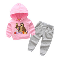 2018 Children 3D Masha And Bear Print Tracksuits Boy Girls Hooded Coat Suits For Kids Long