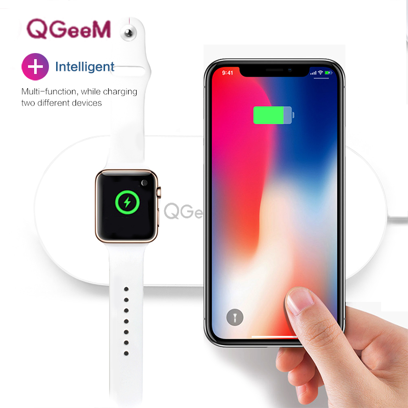 QGeeM 10W Qi Wireless Charger for iPhone 8/X apple iwatch Wireless Charging for Samsung S8/S8+/S7 Edge USB Charger air power